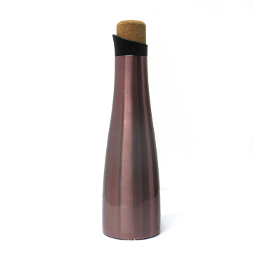 Insulated cork water bottle, wine bottle gift design, electro-plating wine thermos