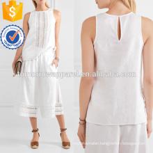 White Linen and Crochet Cotton Top Manufacture Wholesale Fashion Women Apparel (TA4143B)
