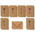 Bunte Herz-Luftballon-Entwürfe lieben Kraftpapier-Gruß-Karten Browns Kraftpapier