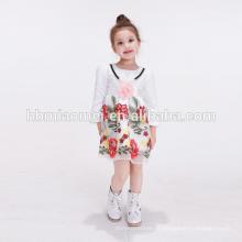 Baby Frock projetos flor branca infantil vestido de crianças Little Girls Party Wear vestido da menina de flor com manga longa