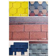 Fibra de vidro com material colorido da areia e telhas de telhado lisas Tipo Telha barata do asfalto da fibra de vidro
