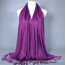 All-match amazing plain dyed long chiffon ladies silk feel tassel indian scarf