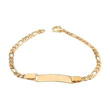 Stainless Steel Figaro Chain Blank Custom Name Curved ID Bar Bracelet