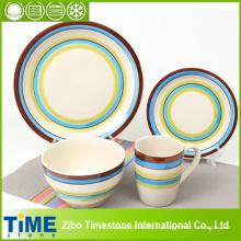 Frische Farbe strippte Steingut Keramik-Dinner-Set (TM0510)