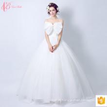 2017 Vestido de noiva de renda doce Vestido de noiva Bowknot China Custom Made