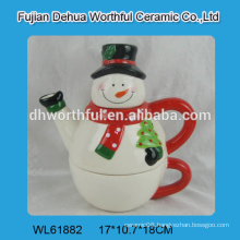 2016 most popular designed ceramic teapot with cup in snowman shape