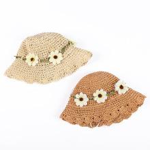 Wholesale Straw Hat with FLOWER Children Kids Girl Summer Sunhat