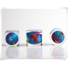 Werbeartikel-Clear Cube Acryl Embeded Globus / Harz Embeded Globe-DC16001