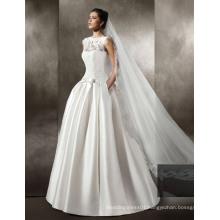Satin/Lace Floor Length Wedding Gown