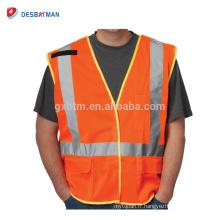 En gros Fabrication 100% Polyester Maille Orange Chemise De Travail Ferroviaire Veste Personnalisé Haute Visibilité Gilet De Sécurité Gilet De Poche