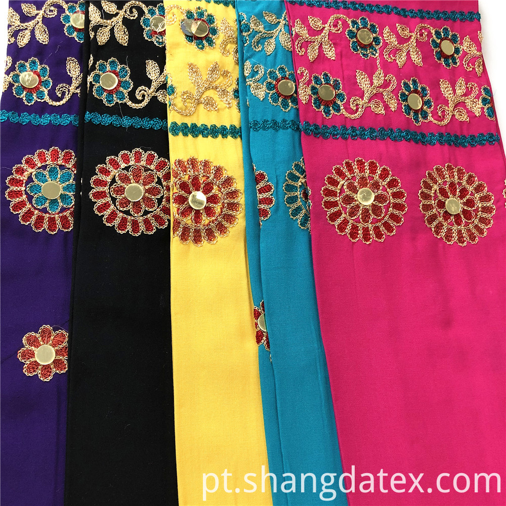 Rayon Plain With Embroidery With Golden Spangle