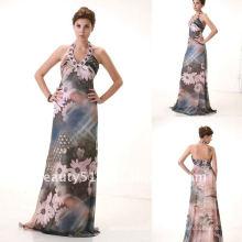 La última manera del estilo que rebordea el vestido de noche de la gasa de la impresión del halter AS103