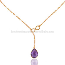 18 Inch Yellow Gold Plated Silver & Purple Amethyst Beautiful Necklace