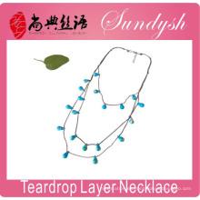 Collar de 3 capas 2016 Spring Summer Accesorio collar azul de lágrima multiarea