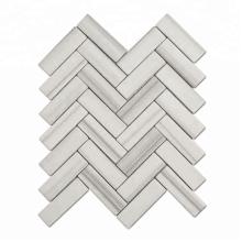 Soulscrafts White Herringbone Ceramic Mosaic Decoration For Wall
