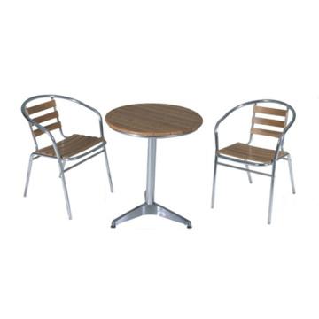Al aire libre muebles 3pc imitación madera chat conjunto