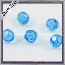 Aqua azul facetado Cubic Zirconia Beads com furo perfurado
