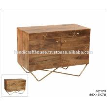 Industrial Brass Inlay Metal Legs 2 Drawers 2 Doors Cabinet