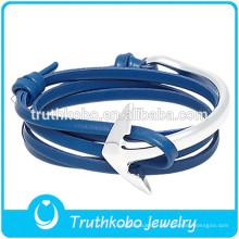 Bracelet en cuir PU avec bracelet en argent Bracelet significatif en acier inoxydable Ancre Bracelet en cuir bleu foncé à deux tons de bijoux en acier inoxydable
