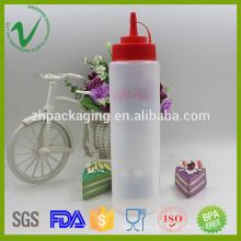 Recipiente de molho, esvaziamento redondo vazio LDPE 700ml garrafa de conta-gotas de plástico