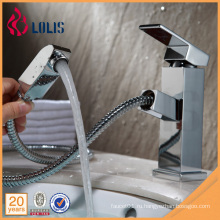 Необычный полированный латунный односторонний рычаг вытащить смесители для раковины для ванной комнаты