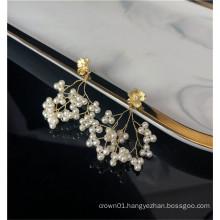 2019 new arrival drop pearl dangle earrings statement for woman