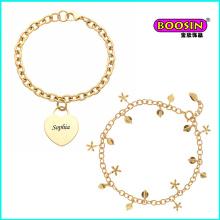 Pulsera de joyería de oro de encantos al por mayor personalizados de nueva moda china