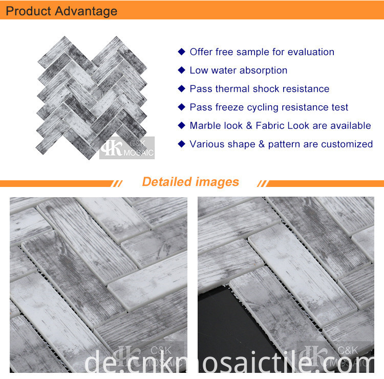 Herringbone Subway Wood Look Glass Mosaic (2)