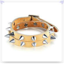Joyas de acero inoxidable joyas de cuero pulsera de cuero (lb457)