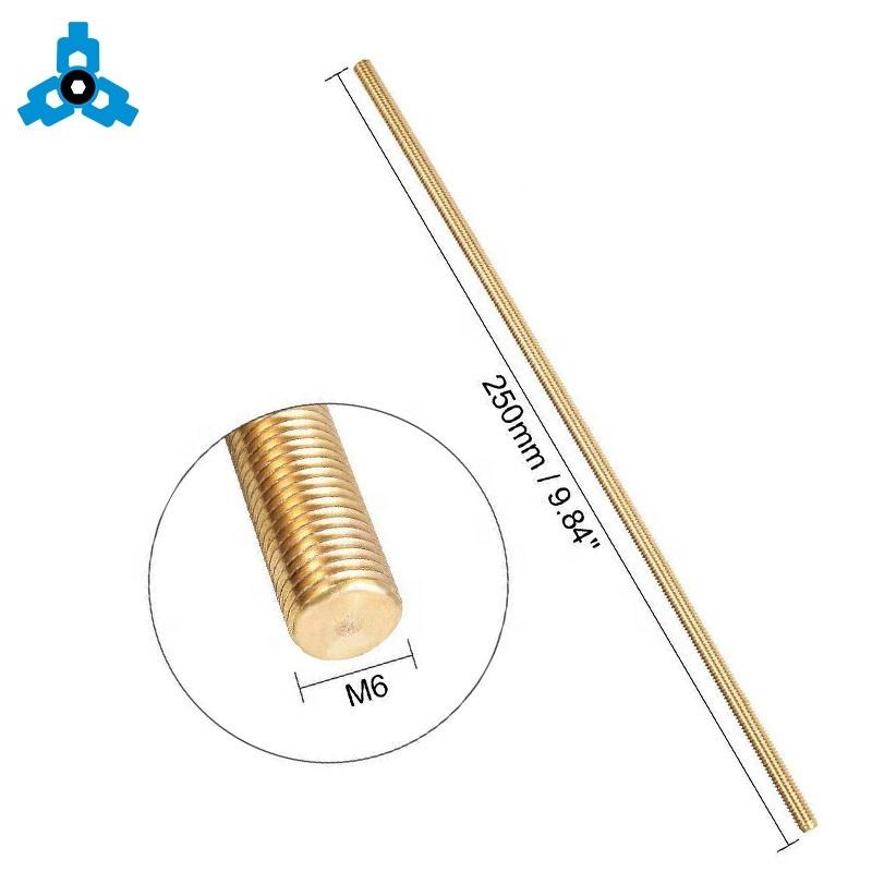 Perno prisionero de cobre de cobre amarillo roscado de varillas DIN975 M3 - ayuda de la acción de la longitud del OEM M30