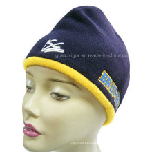 Acrylic Knitted Beanie Hat with Fleece Lining Reversed