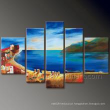 Pintura a óleo moderna do Seascape da decoração da parede na lona (SE-191)