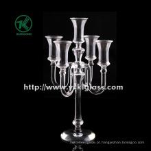 Suporte de vela de vidro para decoração de casa por BV (H: 34CM)