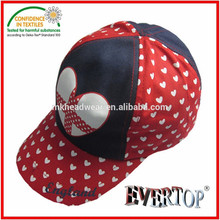 youth five panel cotton hat and cap with heart printing