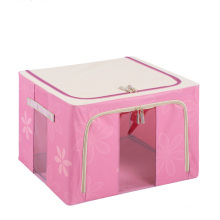 Boîte organisatrice de stockage de tissu pliable rose en nylon (HX-W003S)
