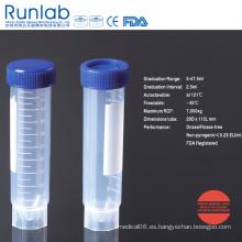 Tubo de centrífuga independiente de 50 ml aprobado por la FDA y la CE con graduación impresa en paquete de bolsa pelable