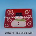 Excellent christmas kitchenware,ceramic santa plate wholesale