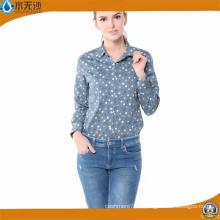 Las mujeres al por mayor de la moda imprimen la blusa de la fábrica del algodón