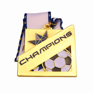 Square gold metal soccer champions medal