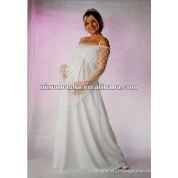 Long Sleeve Empire Pregnant Wedding Dress
