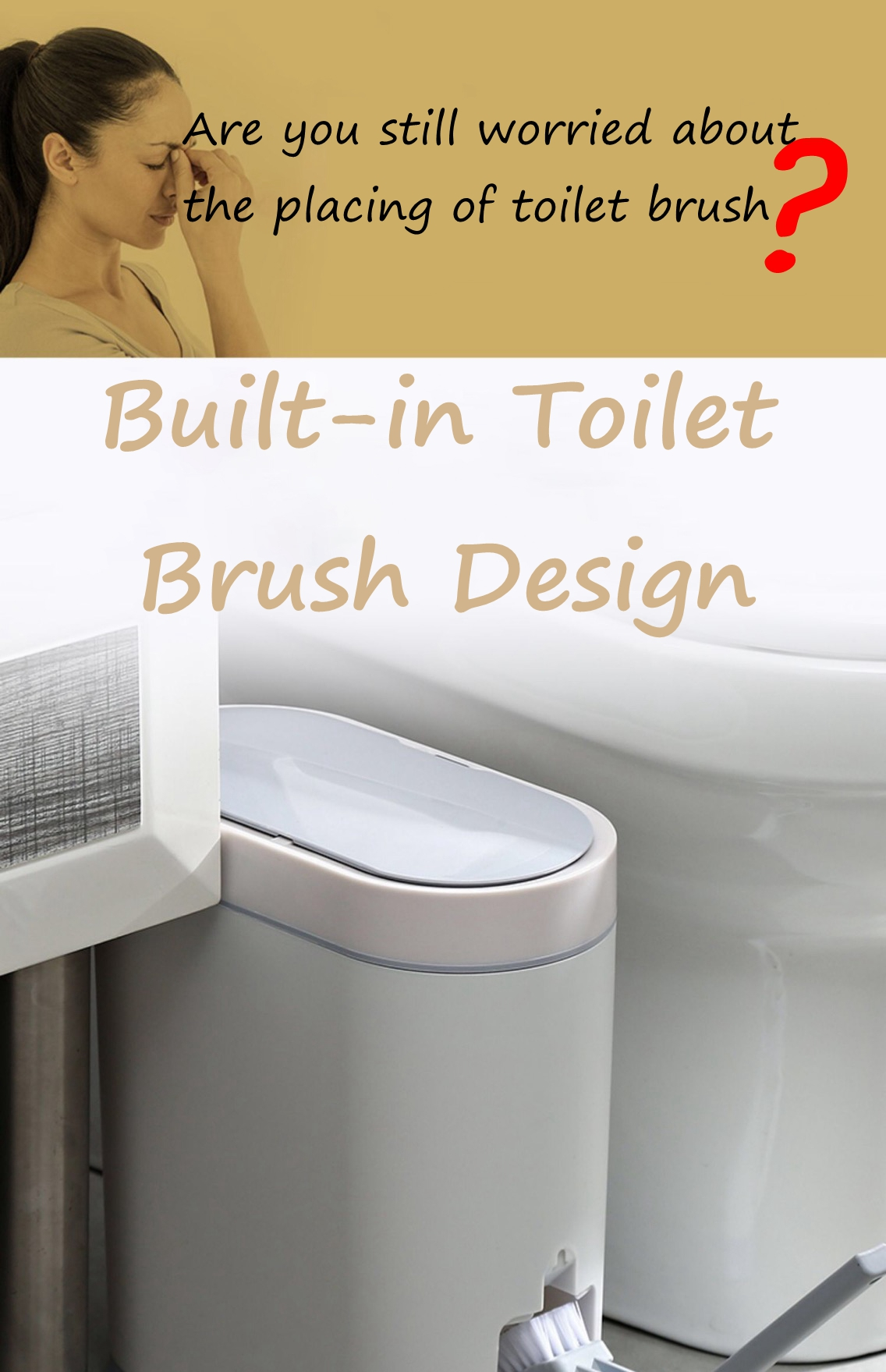 Trash Bin with Built-in Toilet Brush