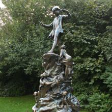 decoração de jardim ao ar livre peter pan estátua de metal menino grandes estátuas de bronze para venda