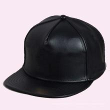 Дешевый Изготовленный На Заказ Черный Кожаный Snapback Шляпу