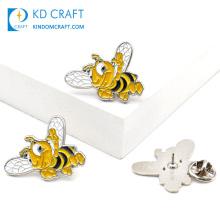 Wholesale custom metal cartoon lapel pins badge cute animal black gold color enamel happy brooch honey bee pins for souvenir