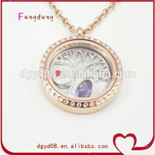 fashion stainless steel gold round shape locket necklace designs