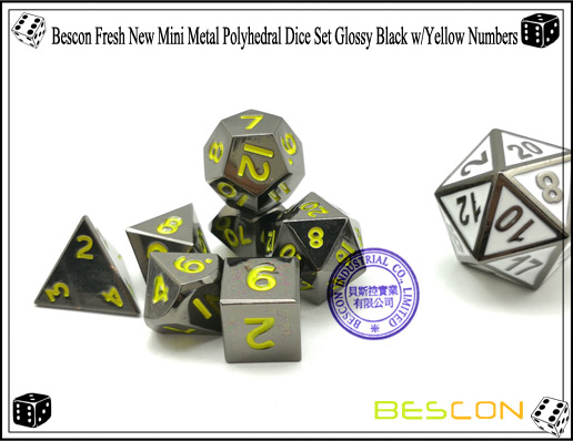 Bescon Fresh New Mini Metal Polyhedral Dice Set Glossy Black with Yellow Numbers-6