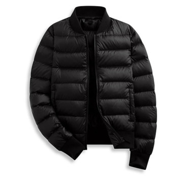 Negro Puffer Ribbed Down Jacket Hombres