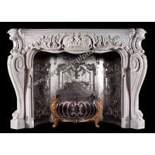 Stone Fireplace Mantel with Marble Granite Limestone Sandstone (QY-LS371)