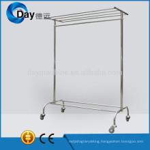HM-42 stainless steel laundry hanger rack on wheel for cloth laundry