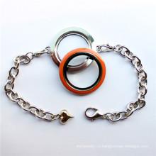 Новый дизайн Круглый стеклянный плавающий браслет-ожерелье для брелоков